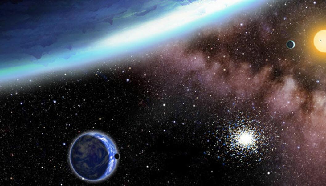 Illustrasjon av planetene som nylig er blitt oppdaget. Den største planeten i bildet, Kepler 62f, er lengst unna stjernen og er dekket av is. Kepler 62e er i forgrunnen, er nærmere stjernen og dekket av skyer. (Illustrasjon: David A. Aguilar/CfA)