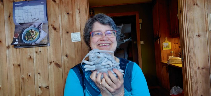 Gro van der Meeren is happy that the sea still holds great mysteries. Here she is with a giant isopod or tanglus.