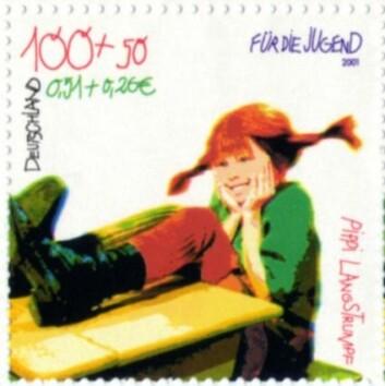 Tysk frimerke med Pippi-motiv. (Foto: Wikimedia Commons)