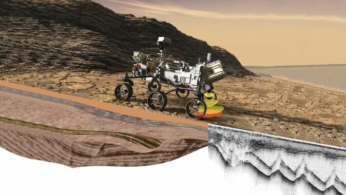 I Nasas Jet Propulsion Laboratory i California ble Mars-roveren Perseverance montert. Nå er den på plass på Mars, med georadaren Rimfax under buken.