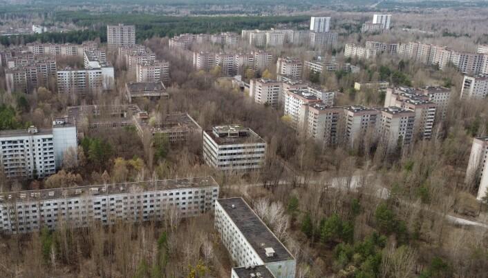 Byen Pripyat, slik den ser ut i april 2021. Den har vært forlatt siden ulykken i 1986.