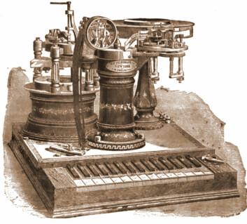 Phelps' Electro-motor Printing Telegraph fra ca. 1880, den siste og mest avanserte telegrafen som ble utformet av George May Phelps. Legg merke til pianotastaturet som ble brukt for å skrive inn bokstaver. (Foto: (Figur: Wikimedia Commons))