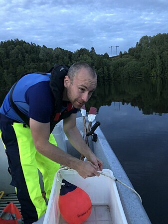 During the fieldwork in Lake Tyrifjord, Håkon Austad Langberg and his colleagues found large amounts of fluorinated toxicants.