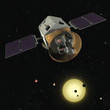 Illustrasjon av TESS-satellitten som er planlagt å skytes opp i 2017. (Foto: TESS team)
