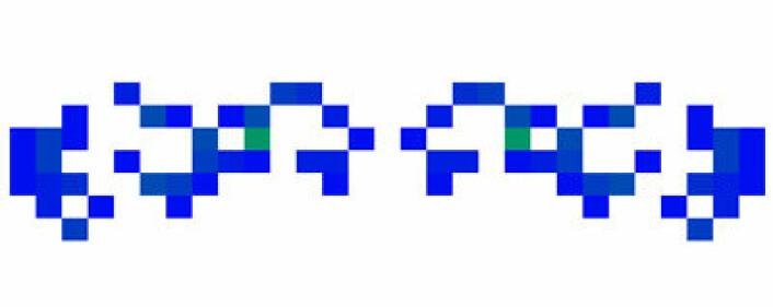 """""""Romskip"""" i Conway´s Game of Life. Skjermdump fra nettprogram tilgjengelig på http://conwayslife.com/."""