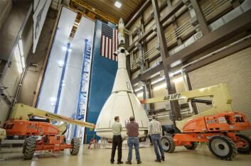 Orion må vente til 2014 på sin første testtur, som blir ubemannet. Det vil gå enda en del år før astronauter skal fraktes med den. (Foto: NASA)