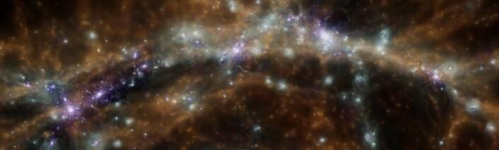 Galakser og galaksehoper er strukturert i et kosmisk nettverk eller spindelvev av både synlig og usynlig materie. Bildet viser en bit av en simulering av utviklingen til universets struktur. (Foto: (Bilde: Klaus Dolag, Universitäts-Sternwarte München, Ludwig-Maximillians-Universität))