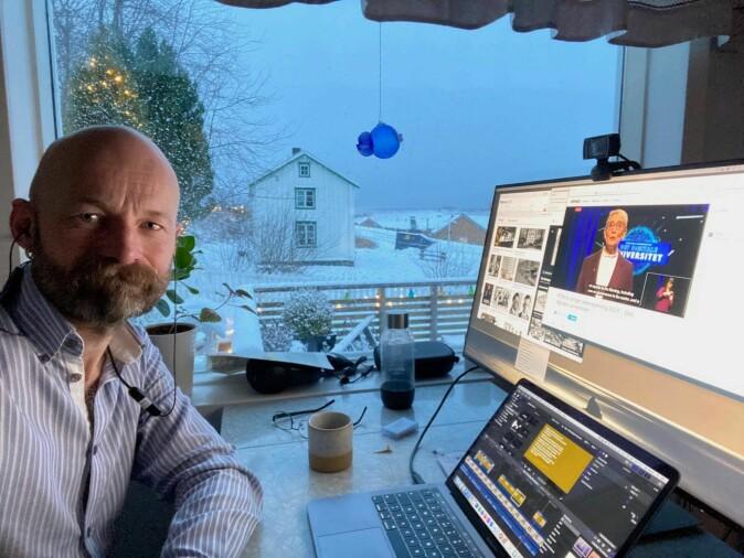 """Digital nomad: Aksel Tjora at his """"home office"""" at Råkvåg outside Trondheim."""