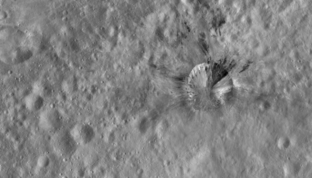 Kom asteroiden 2018LA fra Rubria-krateret på den store asteroiden Vesta? Bildet er tatt av NASA-fartøyet Dawn som utforsket Vesta i 2011-2012.
