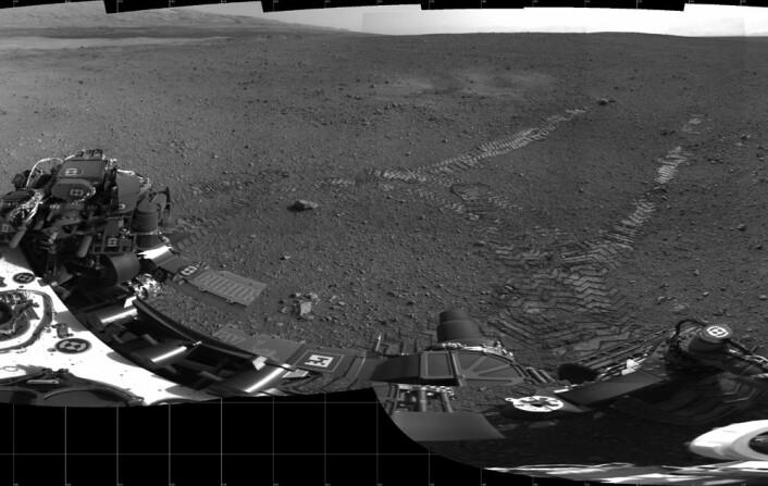 En mosaikk av småbilder tatt 22. august viser de første hjulsporene til kjøretøyet Curiosity på Mars. En smal stein, 89 centimeter i diameter, kan sees der det venstre sporet begynner. Ingeniørene mener at den lå under bakhjulet før kjøringen startet. Blåsemerker fra rakettmotorene som ble brukt under landingen kan sees på begge sider av sporene. (Foto: NASA/JPL)