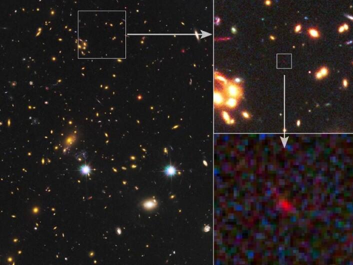 Det store bildet viser galaksehopen MACS J1149 2223. Den virker som en gravitasjonslinse som forsterker lyset fra fjerne galakser bakenfor. På utsnittene kan vi se den nyoppdagede galaksen MACS 1149-JD som en svak rød flekk. (Foto: NASA/ESA/STScI/JHU)