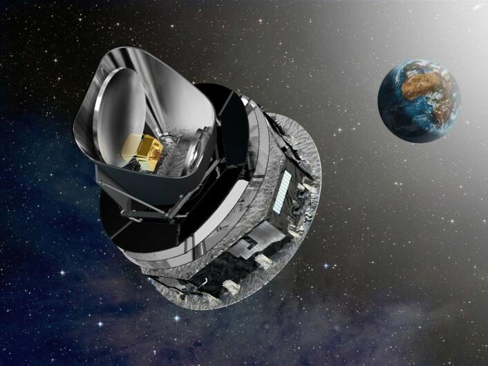 Planck-satelitten i bane rundt Jorden. (Foto: (Illustrasjon: ESA – D. Ducros))