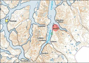 """""""Kartet viser hvor Furuflaten og Pollfjellet ligger, sørover på motsatt side av fjorden for det nå ustabile Nordnesfjellet."""""""