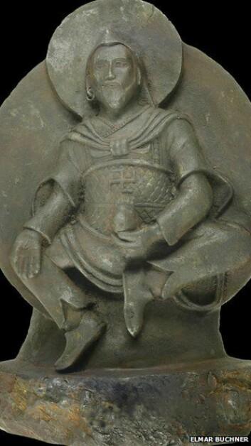 Buddhist-statuen, jernmannen, Vaisravana, Buddhistkongen i Nord, Jambhala - kjær meteorittstatue har mange navn. (Foto: Elmar Buchner/Stuttgart University)
