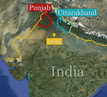 Delstatene Punjab og Uttarakhand ligger nordvest i India. (Foto: (Kart: Google Maps/tilpasset forskning.no/Per Byhring))