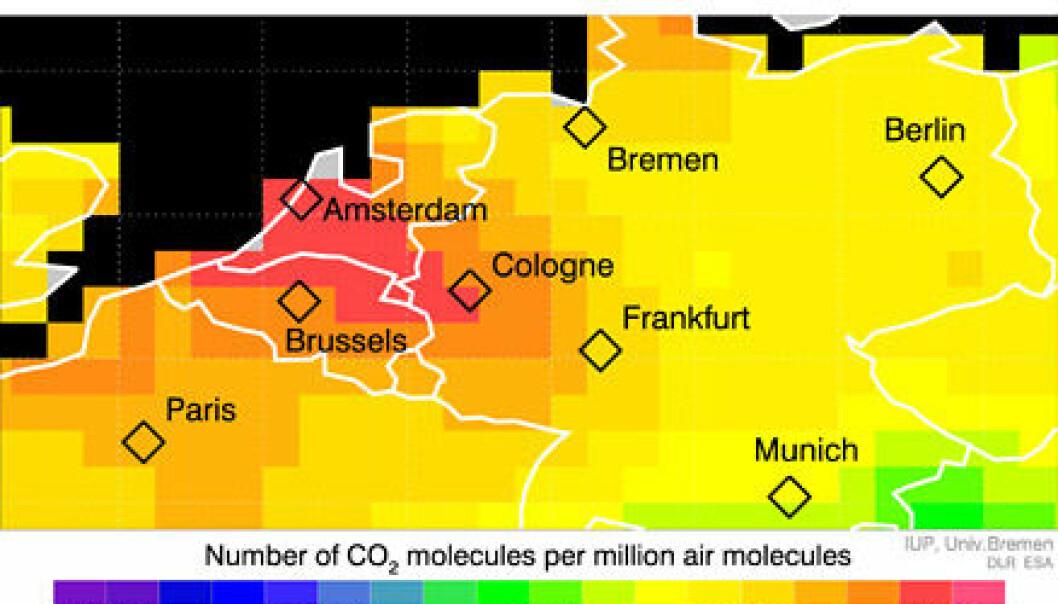 Karbondioksid i atmosfæren, målt med spektrometeret SCIAMACHY på ENVISAT.