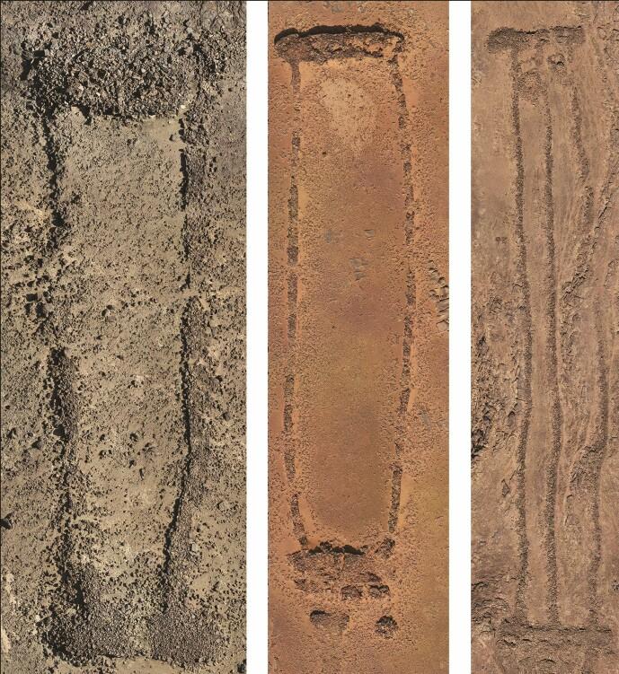 Forskjellige varianter av mustatil. Den enkleste er den til venstre, mens de andre er mer komplekse varianter.