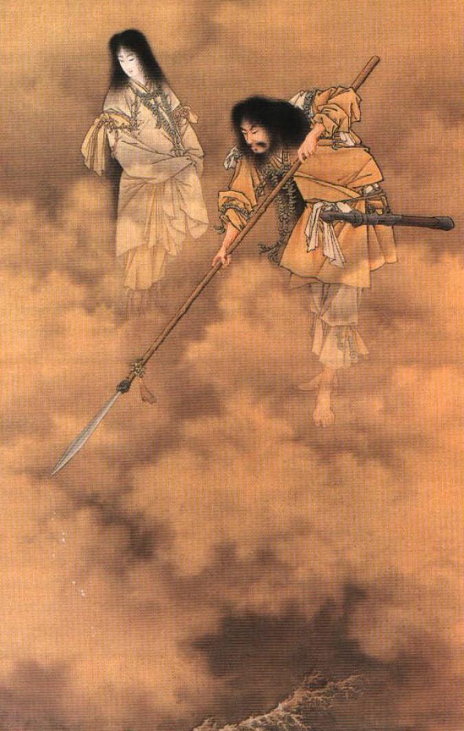 Guden Izanagi (t.h.) med sin kone Izanami. Ifølge Shinto-troen, så var det de to som skapte hele Japan, og de startet med Awaji øyene, som er stedet der dinosauren Yamatosaurus izanagii nå er funnet.