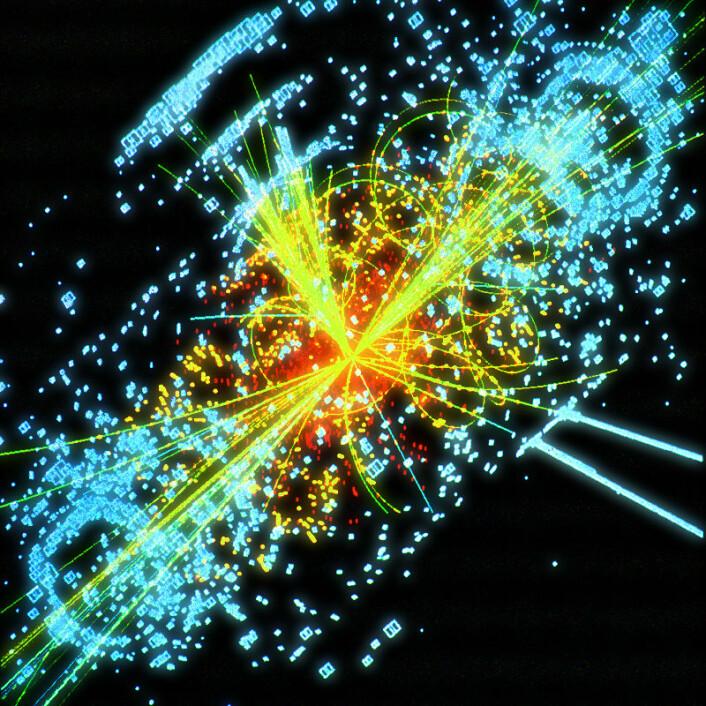 Denne datasimuleringen viser hvordan Higgs-bosonet eventuelt kan komme fram i en av detektorene til LHC. Higgs-bosonet brytes ned i to stråler av andre elementærpartikler (gule linjer). (Figur: CERN)