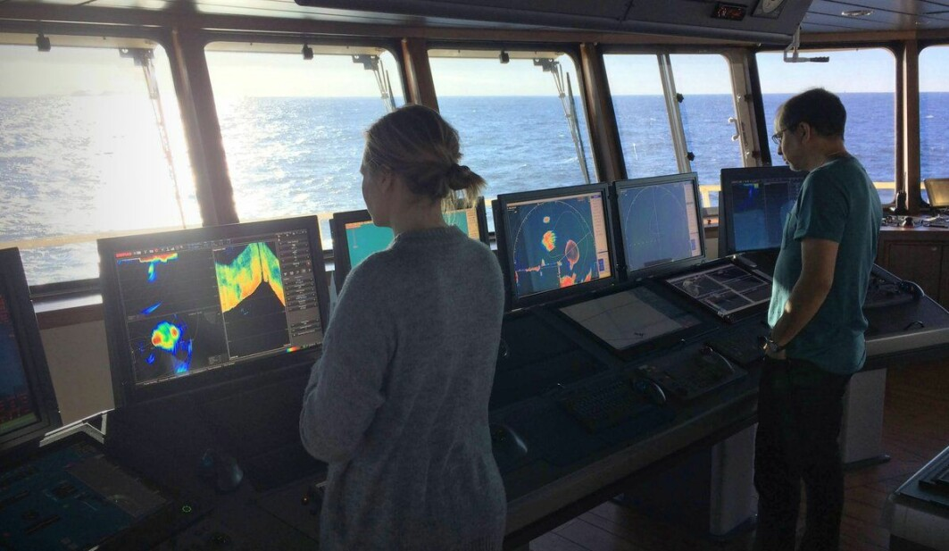 Currently, captains have to interpret sonar images based on their experience and various graphical filters available in the sonar's software. Here the scientists Maria Tenningen and Héctor Peña are collecting the data that may change that.