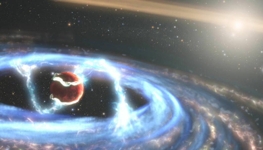 Dette er en tegning av planeten som kalles PDS 70b. Planeten er ung og vokser fremdeles. Den drar til seg gass og støv fra en skive som svirrer rundt den.