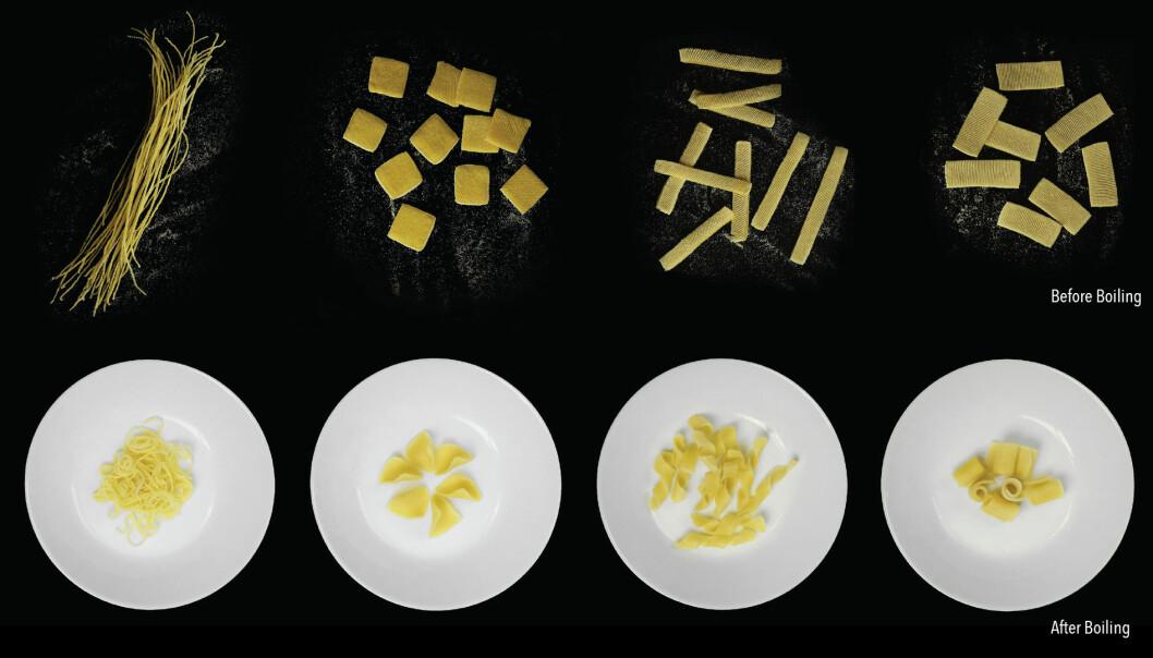 Flate pastabiter får form når de kokes.