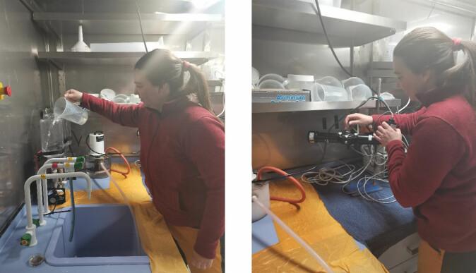 Natalie Summers filtrerer vann for pigmentanalyse (til venstre) og bruker PhytoPam til å måle fotosyntetiske parametere for planteplankton (til høyre).