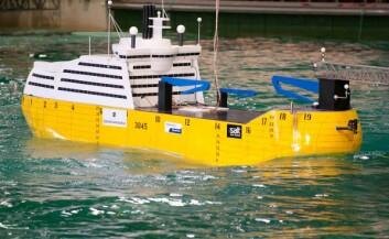 Skipskonseptet er blitt grundig testet i forsøksbasseng. (Foto: Sintef/Marintek)