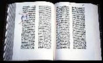"""""""Gutenbergs videreutvikling av trykkekunsten var svært viktig for kunnskapsutviklingen. Her bilde av hans 42-linjers bibel."""""""