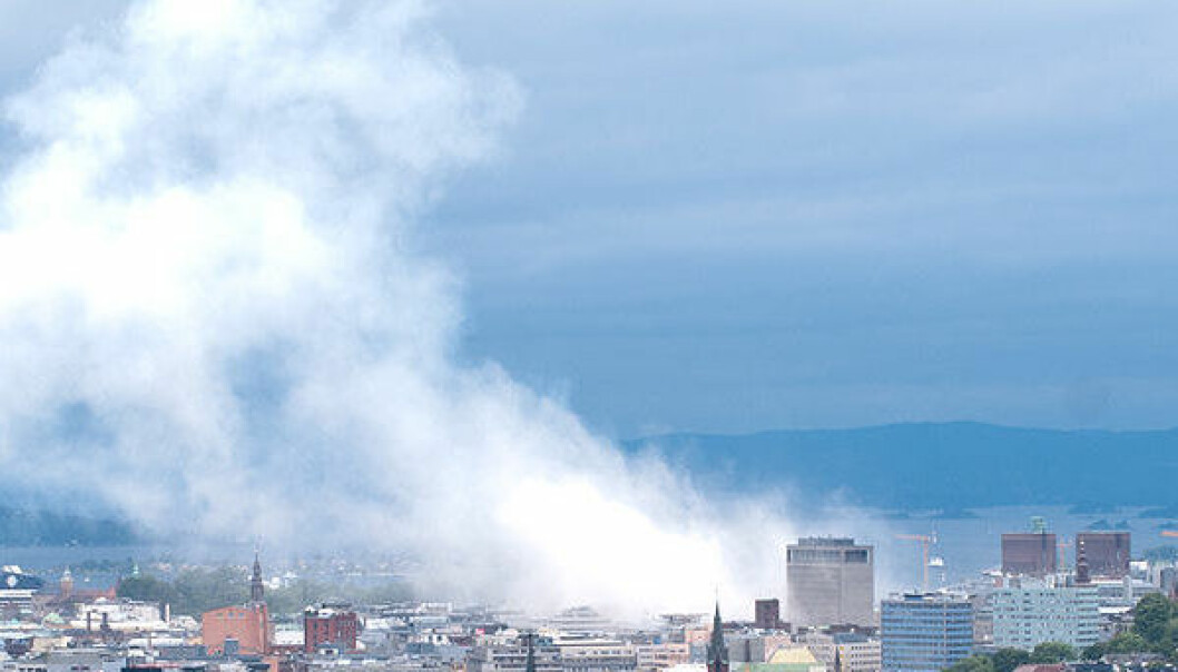 Oslo 30 minutter etter bomben 22. juli 20111. (Foto: <a href=http://en.wikipedia.org/wiki/File:Oslo_view_of_city.jpg>Wikimedia Commons</a>