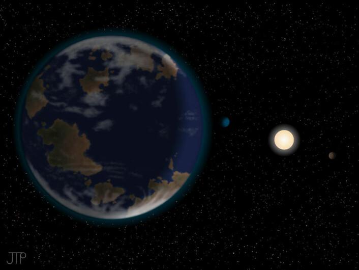 Kunstnerisk framstilling av planeten HD40307g i forgrunnen, med dvergstjernen HD40307 og to av de andre planetene i systemet bakenfor. Atmosfæren og kontinentene er foreløpig rein fantasi. (Foto: (Illustrasjon: J. Pinfield/ RoPACS network, University of Hertfordshire))