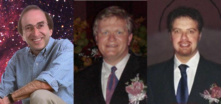 Fra venstre: Saul Perlmutter, Brian P. Schmidt og Adam G. Riess. (Foto: Kungl. Vetenskaps-akademien)