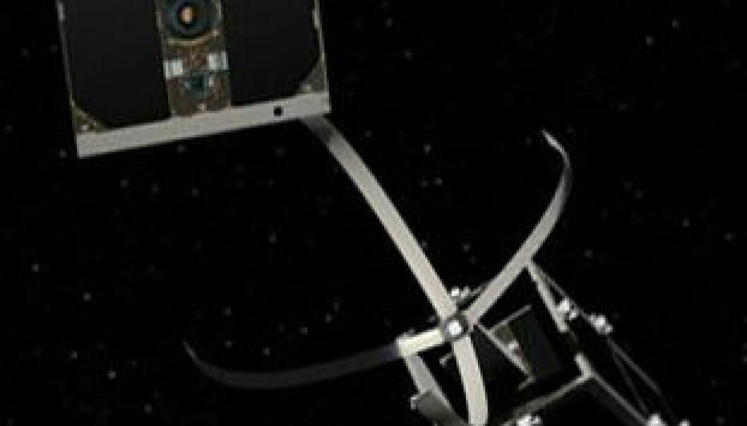 Slik skal verdensrommets nye ryddegutt «Clean Space One» gripe tak i søppel. EPFL/Swiss Space Center