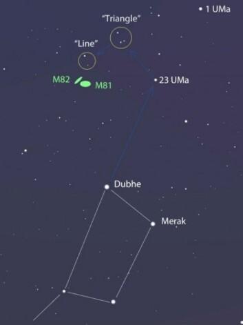 Her ligger galaksen M82 i forhold til den kjente Karlsvogna i stjernebildet Storebjørn. M82 kalles også Sigargalaksen på grunn av formen. (Foto: Stellarium)
