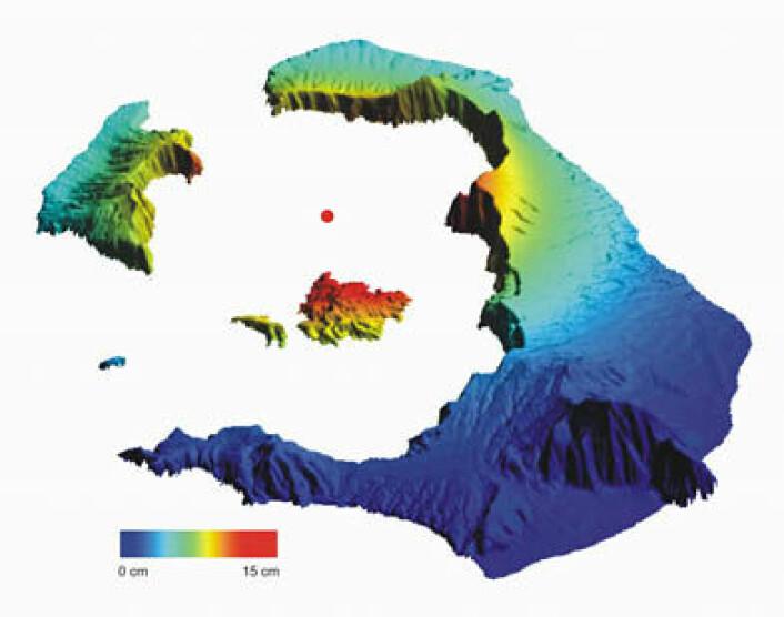 Målinger av vertikal bevegelse på Santorini fra januar 2011 til juli 2012 av satellittene Envisat og TerraSAR-X. Øya Nea Kamini er øya i midten av det undersjøiske krateret. (Foto: (Illustrasjon: M. Parks ))