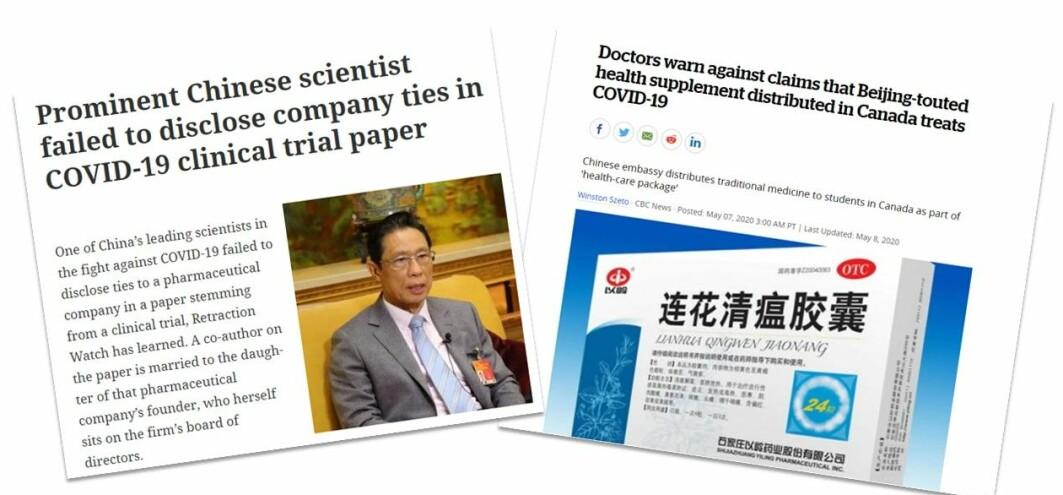 En av forskerne bak studien, Nanshan Zhong, har tidligere samarbeidet med legemiddelfirmaet som produserer medisinen. En av forskerne bak studien, Nanshan Zhong, har tidligere samarbeidet med legemiddelfirmaet som produserer medisinen. En anonym varsler avslørte flere bindinger til firmaet.