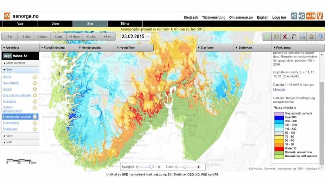 Figuren viser snømengde i prosent av normalen for 23. februar 2015. Den grønne fargen viser at det var bart der det vanligvis ligger snø. Det ble ingen langvarig snømåling dette året.