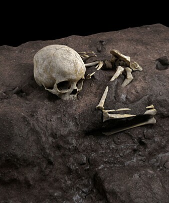 RECONSTRUCION: Virtual ideal reconstruction of Mtoto's position in the burial pit.