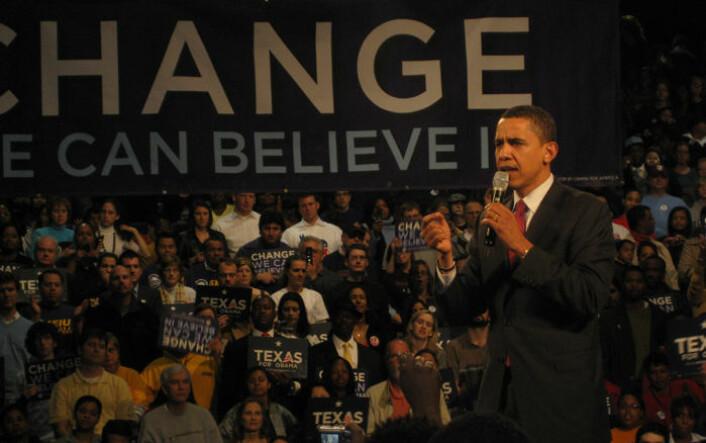 Barack Obama snakker i Houston, Texas. (Foto: Tim Bekaert, Wikimedia Commons)