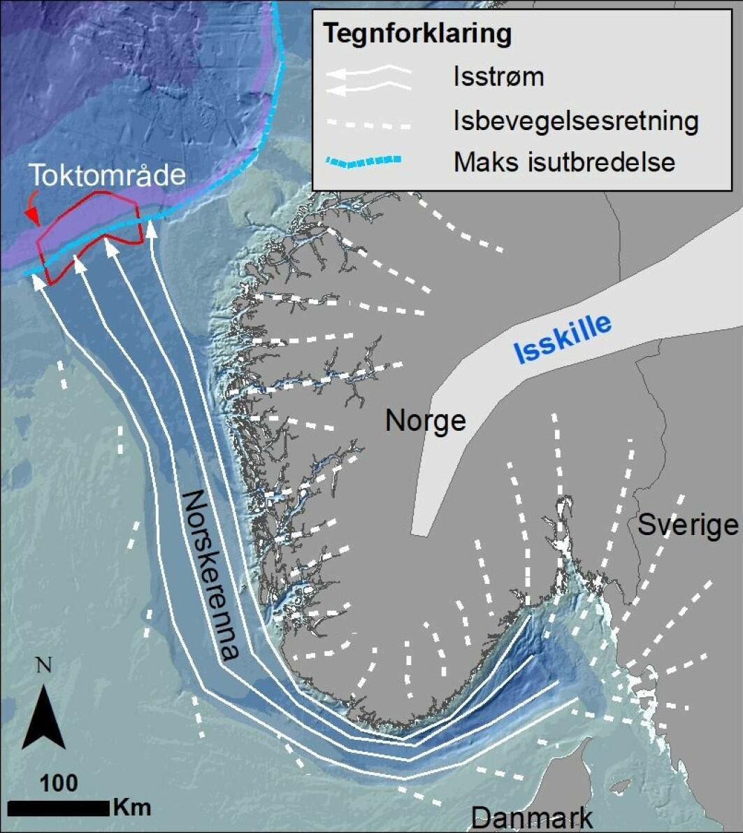 Kartet viser hvorfra breisen (og sedimentene den fraktet med seg) ble drenert ut gjennom Norskerenna (modifisert fra Ottesen 2005). Det lilla feltet langs eggakanten indikerer 550-750 m dyp med atlantisk intermediært vann. På samme dyp observerte vi rike forekomster av blomkålkorallskog.