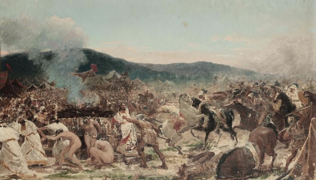 Et maleri fra 1800-tallet som skal vise slaget ved Himera.