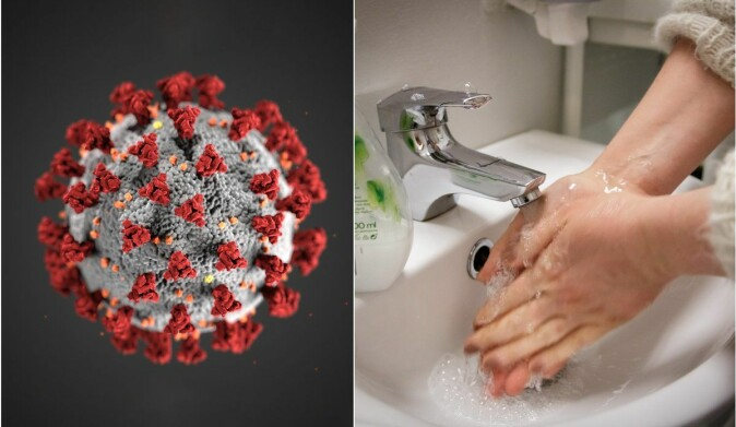 Illustration of the new corona virus SARS-CoV-2 and picture of a woman washing hands.