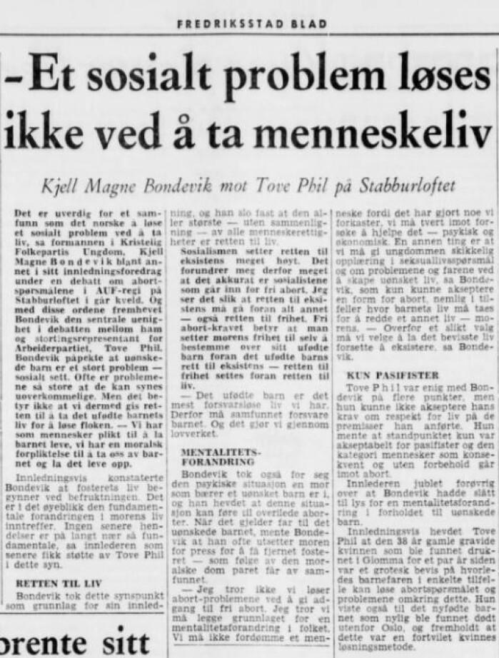 En ung Kjell Magne Bondevik er tydelig på hvorfor Krf er mot selvbestemt abort i 1969. Både KrF og den norske kirken mener fortsatt at livet starter ved unnfangelsen.