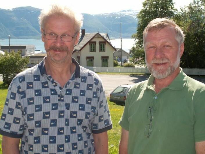 Jordbrukssjef i Lyngen kommune i Troms, Even Kristiansen sammen med vegetasjonskartlegger Per K. Bjørklund fra Skog og landskaps Tromsø-kontor. (Foto: Skog & Landskap)