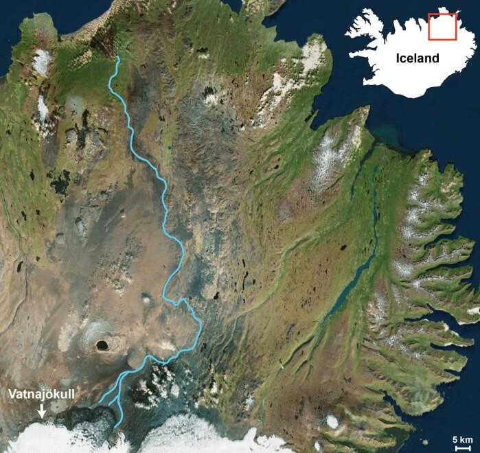 Jökulsá á Fjöllum leder smeltevann fra Vatnajökull mot havet.