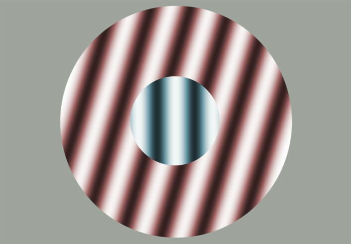 Synssenteret oppfatter de røde stripene som normalen, og ser de blå stripene i forhold til dem. Derfor virker de vridd mot venstre, som en kontrast, selv om de står loddrett. (Foto: (Figur: Forskning.no, etter en figur opprinnelig fra Univerity of Sydney))
