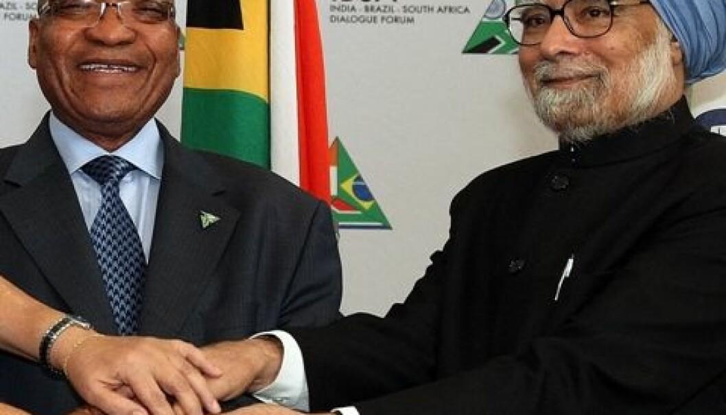 Statsministrene Manmohan Singh fra India og Jacob Zuma fra Sør-Afrika. Wikimedia Commons