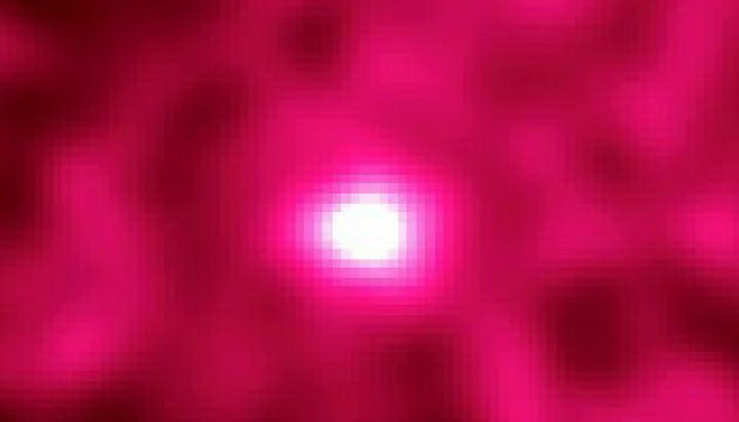 Slik ser månelyset ut i kortbølgede gammastråler. De dannes av kosmisk stråling, raske partikler som treffer overflaten på månen. Ved å måle retningen til slike kosmiske stråler, håper en gruppe forskere å finne ut om vi lever i en ufullkommen datasimulering. (Bilde: D. J. Thompson, D. L. Bertsch (NASA/GSFC), D. J. Morris (UNH), R. Mukherjee (NASA/GSFC/USRA)/ Wikimedia Commons)
