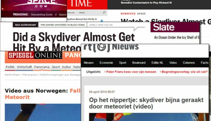 Medier verden over fortalte om nyheten fra himmelen over Rena. Blant andre  Time, Space.com, Slate, Spiegel og RTL News. (Foto: (Fotomontasje :NRK))