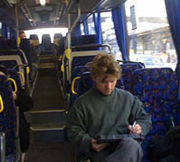 """""""Finland: På bussen i Oulu sendes tekst og bilder til bloggen via mobilt internett."""""""